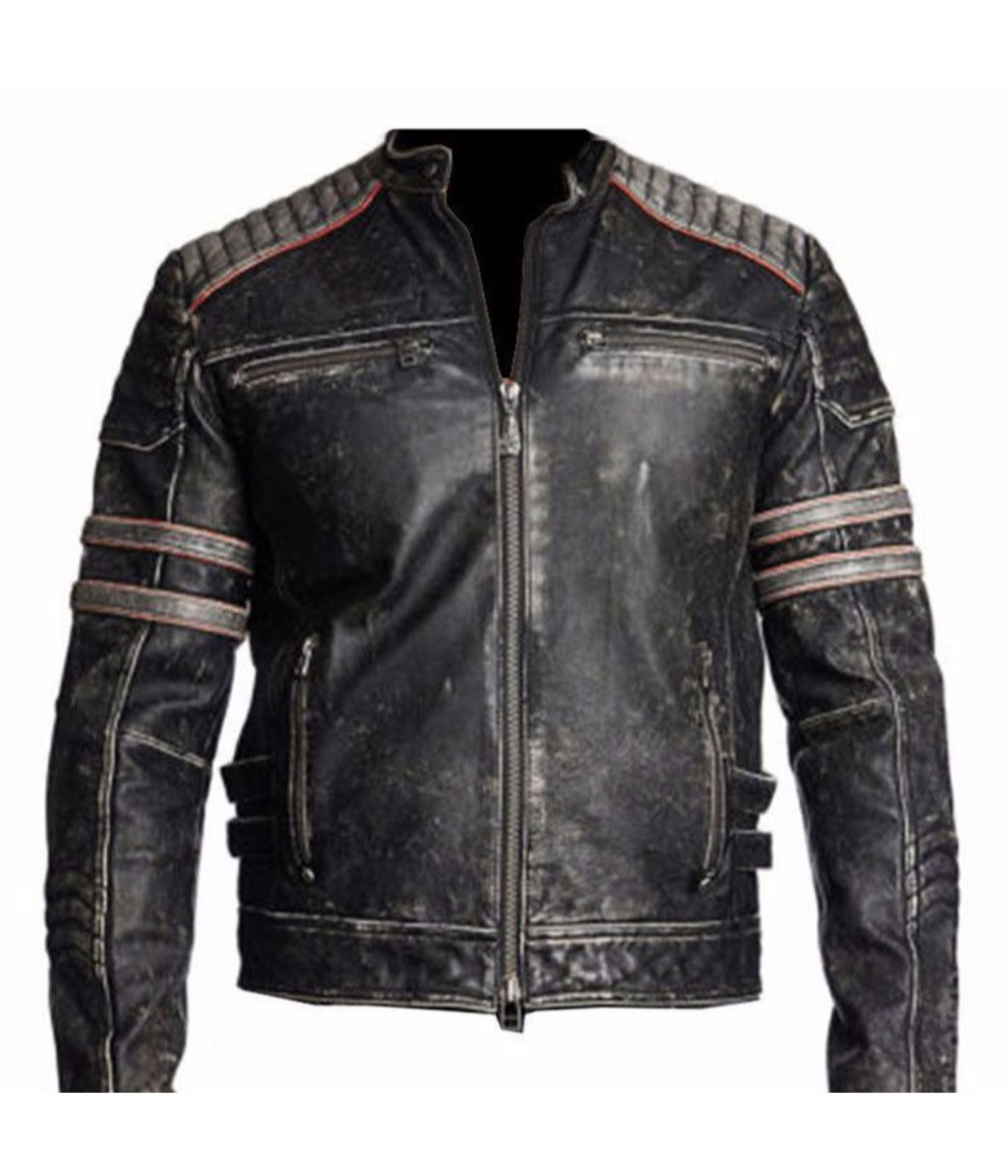 c5523698f41b MEN'S BIKER BLACK RETRO VINTAGE MOTORCYCLE DISTRESSED LEATHER JACKET ...